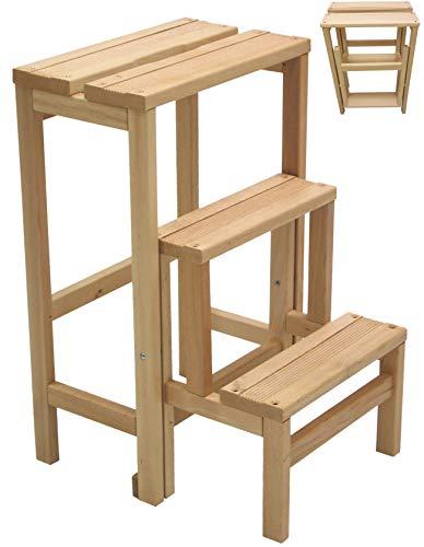 Hocker, Stuhl, Leiter, 3 Stufen, zusammenklappbar, platzsparend, aus Naturholz oder Walnussfarben (Natur)