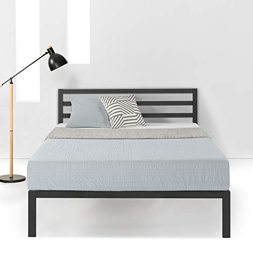 Mellow 14 inch Heavy Duty Metal Platform Bed W/Headboard/Wooden Slat Support/Mattress Foundation(No Box Spring Needed), Queen, Black