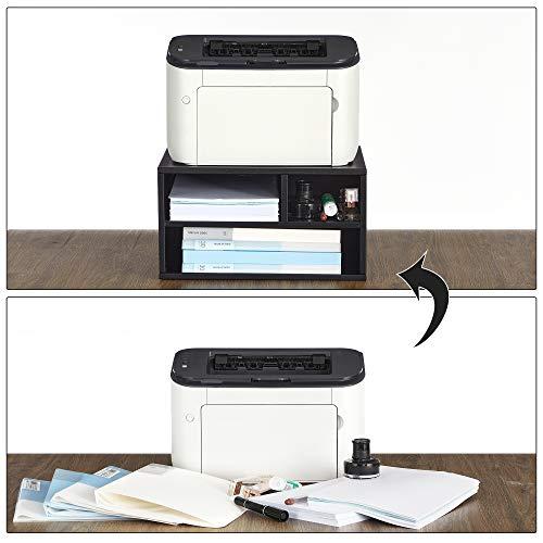SONGMICS Soporte de impresora, con estantes, Marco de acero, Estantería multifuncional, Estilo simple, para oficina, estudio, 40,5 x 30 x 22 cm (Largo x Ancho x Alto), Negro Mate OMC101B01