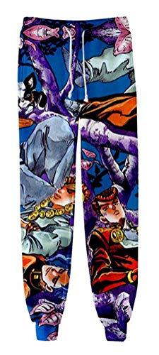 WANHONGYUE Anime JoJo's Bizarre Adventure 3D Gedruckt Sweatpants Jogginghose Cosplay Kostüm Sporthosen Trousers Trainingsanzug 1174/9 2XS