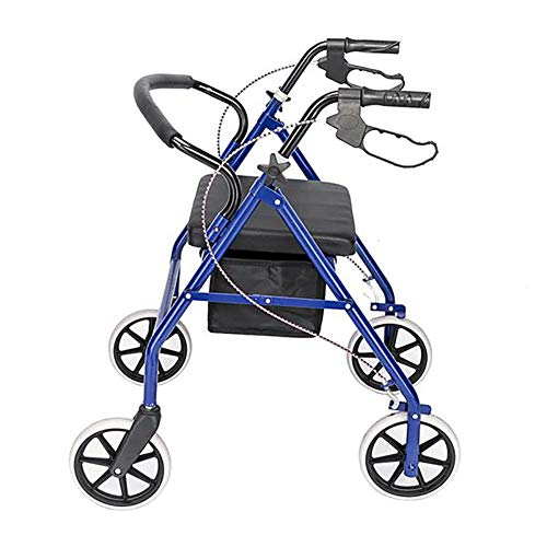 AUTURN Steel Rollator Walker with Seat, Folding Mobility Rolling Walker with 8 inch Wheels Supports up to 350 lbs, Medical Walker (Blue)