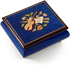 Inspiring Royal Blue Music Theme with Violin Wood Inlay Music Box - Over 400 Song Choices - Butterfly Kisses