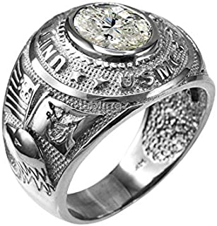 a2495c633bf37f Mens Sterling Silver US Marine Corps USMC Birthstone CZ Ring