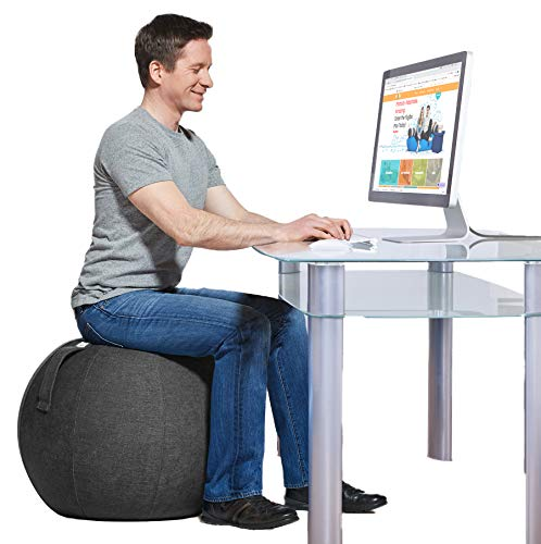 Yogibo YogaBo Ergonomic Balance Ball Chair for Home Desk, Exercise Yoga Office Seat with Built in Base for Stability, Grey