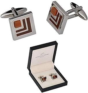 RENATO LANDINI Brown & Chrome Cufflinks
