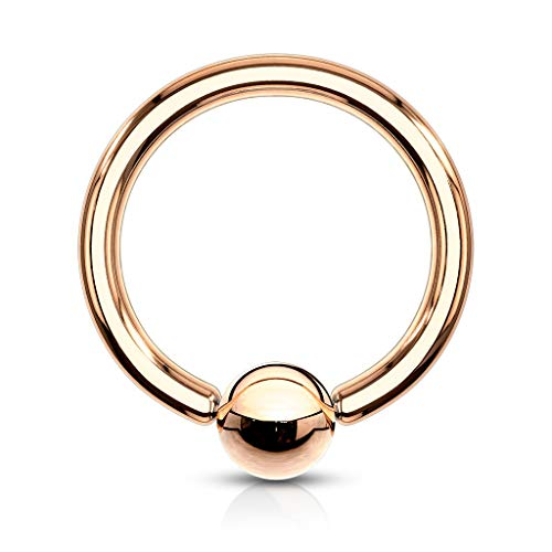 PiercedOff Rose Gold Plated Captive Bead Ring 14GA (1.6mm x 10mm x 4mm)