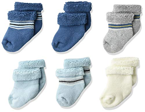 GERBER - Calcetines de 6 pares, para bebé, de 3 a 6 meses, azul/rayas, 3-6 Meses