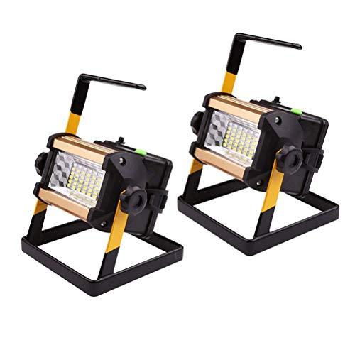 Reflector de trabajo recargable LED de 50 W, portátil, exterior, IP65, luz de trabajo impermeable con flash rojo azul, lámpara de emergencia, 1000 lúmenes, foco de 6500 K para garaje, camping, luz bl