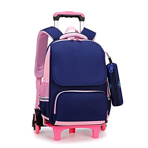 YUTCRE Mochila con Ruedas Niños, Mochila Niñas con Ruedas Estudiante Trolley de Ruedas para Viajar para Estuche (Color : Blue Pink, Size : 41 * 28 * 15cm)