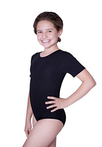 Evoni Kinder Kurzarm-Body mit Rundhals-Ausschnitt in Schwarz mit Druckknöpfen im Schritt | Gr.128| angenehme Kinderwäsche aus Baumwolle | pflegeleicht & komfortabel | Turnbody Gymnastikanzug