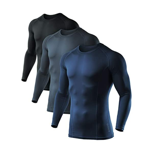ATHLIO Men's Cool Dry Fit Long Sleeve Compression Shirts, Active Sports Base...
