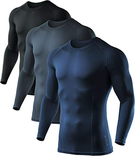 ATHLIO Men's Cool Dry Compression Long Sleeve Baselayer Athletic Sports T-Shirts Tops, 3pack Round Neck(bls01) - Black/Charcoal/Navy, Large