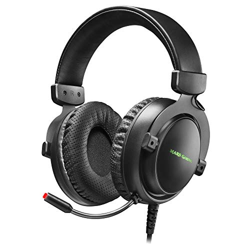 Mars Gaming MH4X, auriculares + mic DSP 7.1 SENSUS HAPTIC, RGB, PC/PS4/Switch, Color Negro