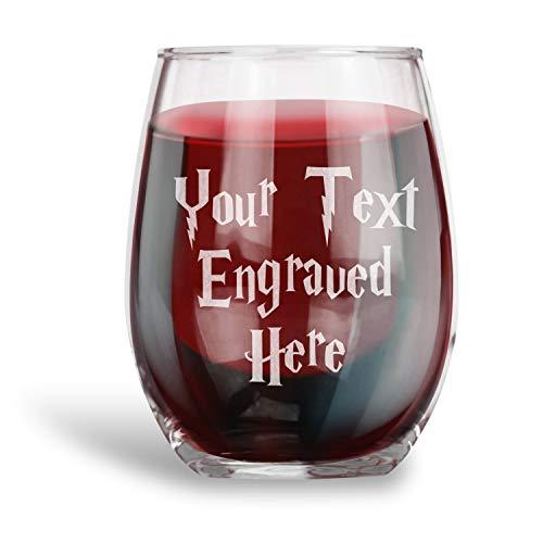Gepersonaliseerde Stemless wijnglas gegraveerd met uw aangepaste tekst gepersonaliseerde geschenken Humor Drinkware Grappig geschenk