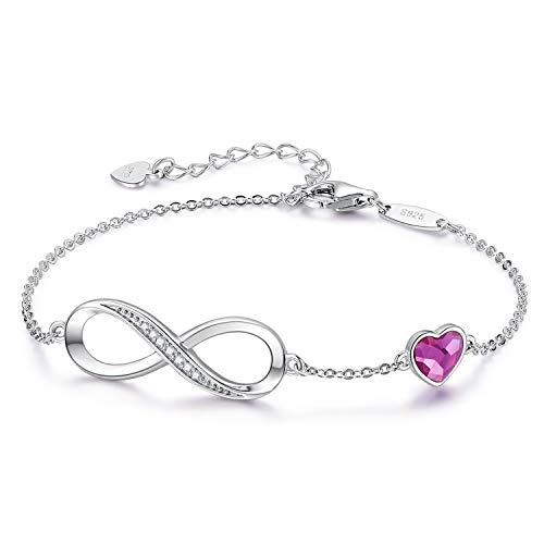 Infinity Bracelets for Womens Jewellery 925 Sterling Silver Bracelet Adjustable with Love Heart Symbol Charm Bracelets Gifts for Her Women Wife Mum