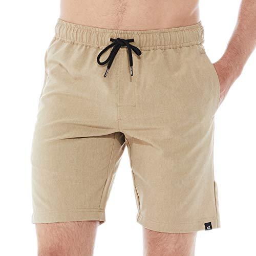 DINOGREY Men's Workout Running Shorts Quick Dry 4-Way Stretch Athletic Shorts Training Active Walkshorts with Zip Pockets Heather Khaki