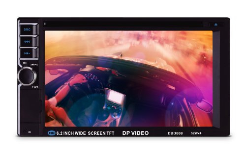 DP Audio Video DBD808 6.2-Inch Double Din Multimedia Receiver with Bluetooth and IR/FM Transmitters