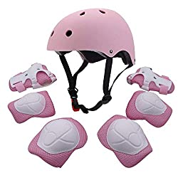 pink safety gear for girls including helmet and palm pads