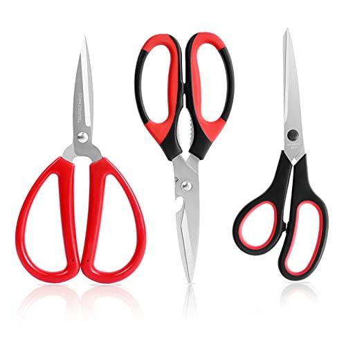 Scissors, Blablaovy All-Purpose Scissors Bulk Pack of 3, Multipurpose Stainless Steel Sharp Scissors Shears for Kitchen Office Home School Sewing Fabric Craft Supplies, Right/Left Handed Scissors Set