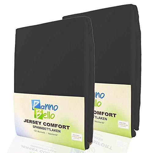 PANNOBELLO Spannbettlaken Doppelpack Schwarz 2 Stück 90 x 200 cm - 100 x 200 cm (+30 cm) Jersey 100% Baumwolle für bis zu 40 cm Hohe Matratzen Spannbett-Tuch Bettlaken Laken auch für Topper