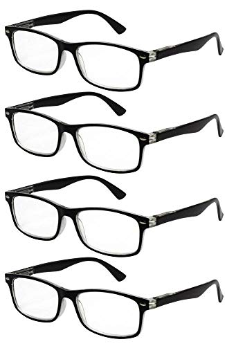 TBOC Gafas de Lectura Presbicia Vista Cansada - [Pack 4 Unidades] Graduadas +3.50 Dioptrías Montura de Pasta Bicolor Negra y Transparente Diseño Moda Hombre Mujer Unisex Lentes Aumento Leer Ve