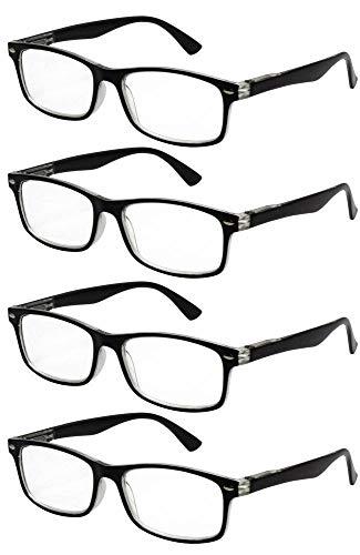 TBOC Gafas de Lectura Presbicia Vista Cansada - [Pack 4 Unidades] Graduadas +3.50 Dioptrías Montura de Pasta Bicolor Negra y Transparente Diseño Moda Hombre Mujer Unisex Lentes Aumento Leer Ver Cerca