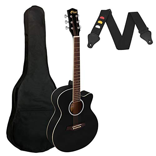 Tiger Small Body Full Size Acoustic Guitar for Beginners - Black
