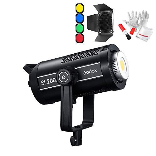 【Godox正規代理店】GODOX SL200II SL200W II 200W Ledビデオライト Bowensマウント 74000lux@1m CRI96+ TLCI97+ 8つ照明モード 超静音ファン BD-04標準リフレクターディフューザーキット同梱