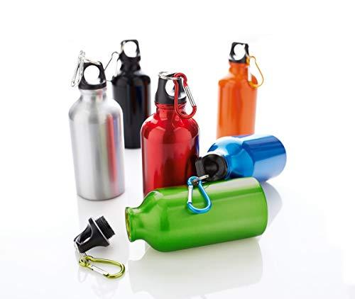 PureDay Trinkflasche, 0,4 l Transit - Aluminium, mit Karabinerhaken - Silberfarben