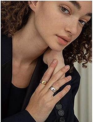 COXTNBIO Gold Ring 18k Gold Plated Statement Rings for Women /& Girls Stacking Band Rings Women Jewelry Minimalist Ring