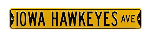 Authentic Street Signs 70084 Iowa Hawkeyes Ave, Heavy Duty, Steel Street Sign, 36