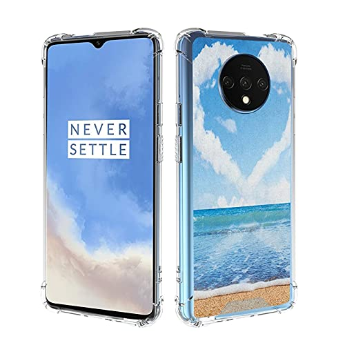 guchaolu Fit for OnePlus 7T Model Phone Case with Valentines Day, Clouds in Clear Blue Sky Forming a Heart Shape Romantic Beach, Azul Blanco