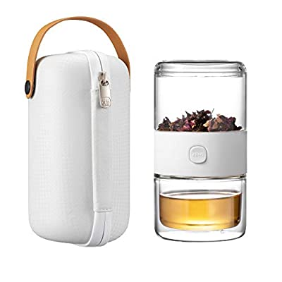 ZENS Travel Tea Set, Glass Portable Teapot Infuser Set for One with 200ml Double Walled Teacup for Loose Tea, To Go white Case for Office or Homeworking Daily Tea