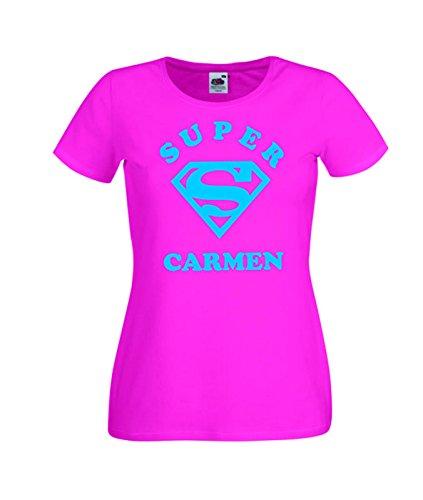 Camisetas divertidas Child Super Carmen - para Mujer Camisetas Talla XS Color Rosa Fucsia