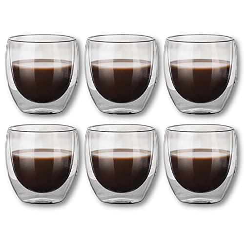 Set di 6 bicchieri da caffè espresso in vetro termico a doppia parete, 80 ml