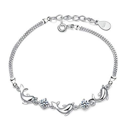 yuangong Damen Mädchen Fashion 925 Sterling Silber Delfin Kristall Diamant Armband Kette Armreif Schmuck für Frauen & Mädchen (nicht)