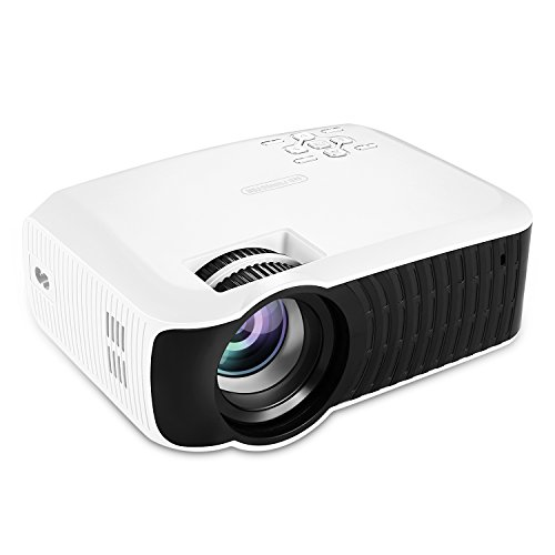 NiocTech 2200 Lumens LCD Mini HD Projector, Multimedia Home Theater Video Projector Support 1080P HDMI USB SD Card VGA AV for Home Cinema TV Laptop Game iPhone Andriod Smartphone [White]