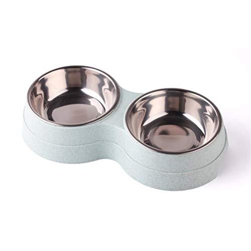 NYKK Double Dog Cat Bowns Essen Fütterung Wasserschüssel für Katzen und kleine Hunde Premium Edelstahl Pet Bowls Leicht Reinigung (Farbe: Blau B) lalay (Color : Blue)