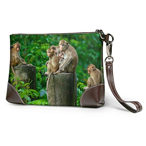 XCNGG Weiche wasserdichte Frauen Clutch Brieftasche Leder Cute Naughty Monkey Family Große Damen Brieftasche mit Reißverschluss für Frauen Mädchen