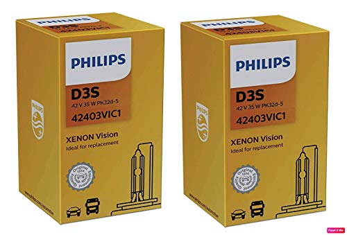 Philips Vision D3S Headlight Replacement Xenon Bulb 42403VIC1 (Pack of 2)