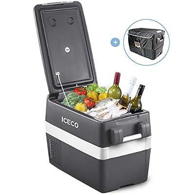 ICECO JP40 Portable Refrigerator Fridge Freezer, 12V Cooler Refrigerator, 40 Liters Compact Refrigerator with Secop Compressor, for Car & Home Use, 0??50?, DC 12/24V, AC 110/240V