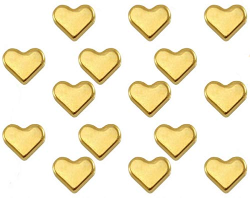 Sadingo Herzperlen Gold DQ Metall, 15 Stück, 6mm, Horizontales Reihloch, Großpackung Großhandel, Schmuck selber Machen