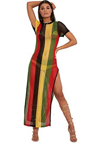 Clossy London 100% Egyptian Cotton Ladies Rasta Jamaican Work String Dress Multicoloured Hip Hop Dance Club Dress Beach Swimsuit Cover up size s/m small medium