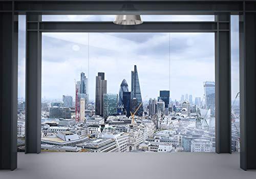 decomonkey Fototapete London Stadt City 300x210 cm XXL Design Tapete Fototapeten Vlies Tapeten Vliestapete Wandtapete moderne Wand Schlafzimmer Wohnzimmer Fenster Panorama
