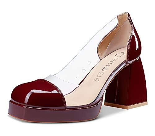 Castamere Scarpe col Tacco Donna Plateau Quadrata Tacco a Blocco 8.5CM High Heels Pumps Rosso Borgogna Scarpe EU 36