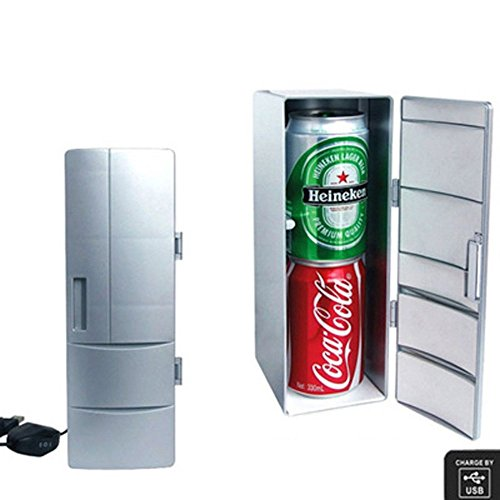 ZoneSmart Fridge USB Cooler Mini Refrigerator Beverage Drink Warmer Can Desktop White Cooling Powered Single Computer Pc Cans Nib Gadget Soda