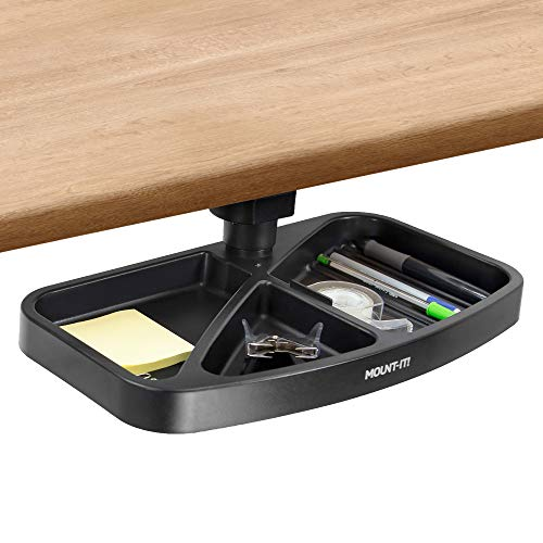 Mount-It! Under Desk Swivel Storage Tray | Ergonomic Undermount Shelf Organizer Holds Pens Pencils Paper and Other Office Supplies | Mounts to Desktops Tables and Workbenches | Black