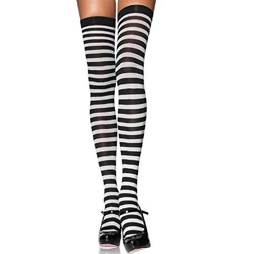 Leg Avenue 6005X - Übergröße Nylon Gestreifte Strümpfe, Größe 44-46, schwarz/weiß, Damen Karneval Kostüm Fasching