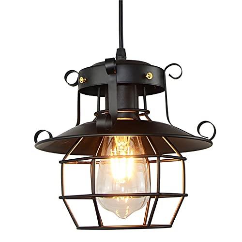 QWQW Lámpara de araña Industrial Vintage Retro Colgante de luz Sombra Iluminación de Techo Restaurante Loft Pantalla de lámpara Negra Lámpara de Techo de Cocina Lámpara de araña de cafetería Base E27
