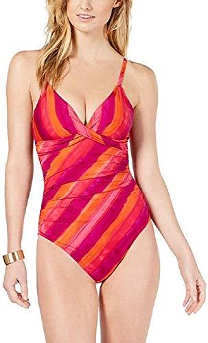 LAUREN RALPH LAUREN Painted Stripe Underwire Tummy-Control One-Piece Swimsuit Pink